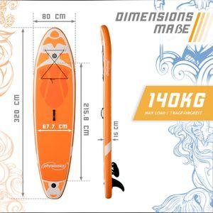 Physionics® SUP Board - 305/320/366 cm, Aufblasbar, Handpumpe mit Druckmesser, Rucksack - Paddling Board, Surfboard (320cm, Kraken orange)
