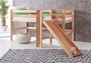 Hochbett ELIYAS Kinderbett mit Rutsche Spielbett Bett Natur, Matratze:ohne
