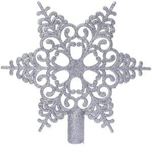 Bruchfeste Weihnachtsbaumspitze Barock Stern Silberfarben mit Glitter aus Kunststoff
