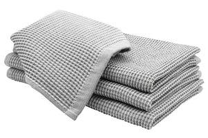 4er Set Geschirrtücher, Baumwolle, 50x70 cm, Waffelpique, grau