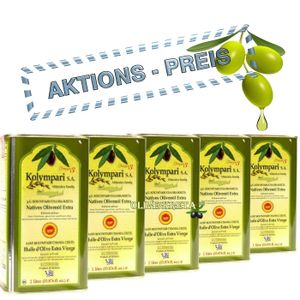 5x KOLYMPARI PDO 04035 Natives Olivenöl Extra 5 Liter (AKTION ! 5 x 1 Liter Dosen)
