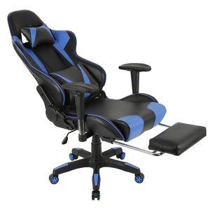 WYCTIN Relax-Bürostuhl Schreibtischstuhl Gamingstuhl 120kg belastbar Fußstütze Schwarz blau