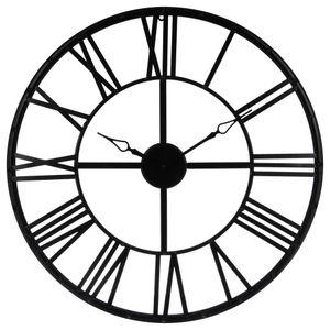 Schwarze Wanduhr Ø 70 cm, moderne Uhr, dekorative Uhr, Metallwanduhr, Wohnuhr