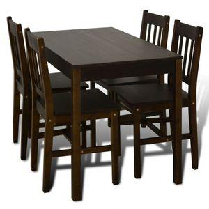 vidaXL Esstisch Holztisch mit 4 Holzstühlen Esszimmerset braun