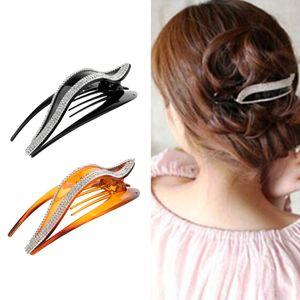 2x Womens Crystal Hair Claws Griffe Strass Clip Klemmen Pins Styling Werkzeuge