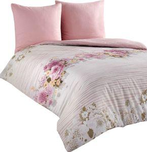 Bettwäsche 200x200 + 80x80 cm Baumwolle Renforce weiß rosa Geblümt mit Reißverschluss, 3-teilig