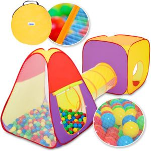KIDUKU Spielzelt mit Tunnel und 200 Bällen inkl. Tasche Kinderzelt Bällebad Pop Up Babyzelt