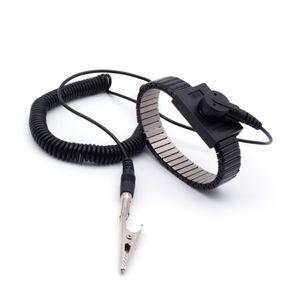 ESD Schutz Metallketten-Armband 10 mm Druckknopf Spiralkabel 3 m und Adapter