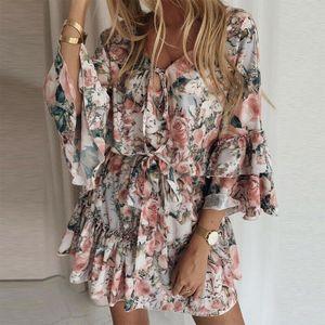 Damen Boho Minikleid Blumen Sommerkleid Tunikakleid Freizeitkleid Skaterkleid 34