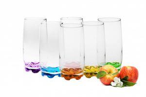 Trinkgläser aus Glas 350ml (max.390ml) Set 6 Teilig bunter Boden Wassergläser Saftgläser