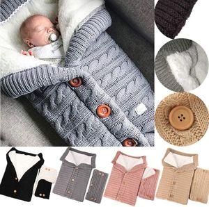 Baby Schlafsack für Kinderwagen Winter Gestrickt Schlafsack Süße Samt Warme Tasche Pucksack Stricken Wickeln Abnehmbare Ärmel Strick Decke Schlafsack Swaddle für Babys Neugeboren 0-18 Monat
