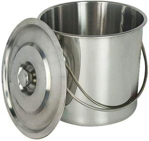 20L Edelstahl Eimer Kücheneimer Futtereimer Milcheimer Weinkühler Sektkühler EIS-Eimer Mit Deckel