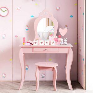 COSTWAY Kinder Schminktisch, Make-up Tisch mit Hocker und abnehmbarem Spiegel, Frisierkommode Holz, Mädchen Frisiertisch mit Schublade 70x34x105cm Pink