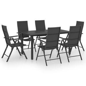 Gartenmöbel Essgruppe 6 Personen ,7-TLG. Terrassenmöbel Balkonset Sitzgruppe: Tisch mit 6 Stühle, Schwarz❀4639