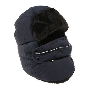 Mens Damen Trapper Plain Russischen Winter Warme Hut Mütze Mit Maske Dunkelblau Farbe Dunkelblau