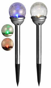 Solarleuchte Solarlampe Solar Kugel 8cm in Bruchglas-Optik mit Farbwechsel 70191