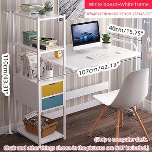 (107cm Ahorn Sakura Brett + Weißer Rahmen)Schreibtisch Computertisch Bürotisch mit Bücherregal Arbeitstisch Esstisch