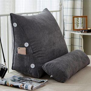 Rückenkissen mit Nackenrolle Keilkissen Fersehkissen Grau 60 x 25 x 50cm Für Sofa Bett, Farbe: Grau
