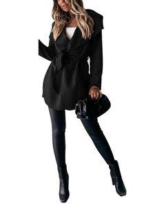 Kurzer Trenchcoat mit Schnürung für Frauen Mantel,Farbe: schwarz,Größe:S