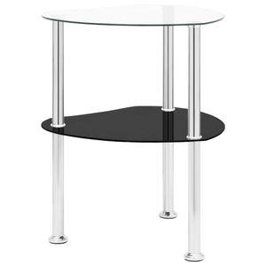 Möbel® Ziertisch Beistelltisch 2 Ablagen Transparent Schwarz 38x38x50cm Hartglas