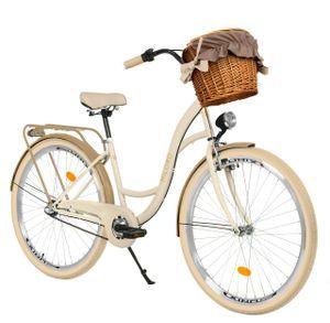 Milord Komfort Fahrrad Mit Weidenkorb Damenfahrrad, 26 Zoll, Creme-Braun, 3 Gang Shimano