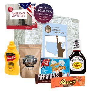 American Way of Life Premium Geschenkbox I Food Klassiker aus den USA I Geschenk für Amerika Fans I USA Süßigkeiten & BBQ im Probierset