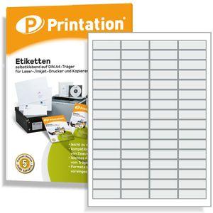 Prinatation Universal selbstklebende Etiketten 48,5 x 16,9 mm - 6400 Labels weiß - 100 A4 Bogen á 4x16 48,5x16,9 Labels - 3667