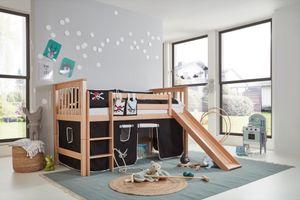RELITA - Halbhohes Bett Kick, 90 x 200 cm Liegefläche, mit Lattenrost, Textilset und Rutsche, Buche massiv natur lackiert