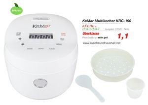 KeMar Kitchenware KRC-190 Reiskocher | Klein und kompakt | Touch Display | Timer | 3D-Heating | Warmhaltefunktion | BPA-Frei | Dämpfeinsatz | Für Reis, Quinoa und Getreide