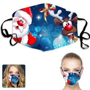 Haobuy Stoffmaske Baumwolle Maske, 5 Stk. Wiederverwendbare Weihnachtsdruck atmungsaktive Mund-Nasenschutz Maske, Waschbare Gesichtsmasken mit verstellbarer Earloop(C)