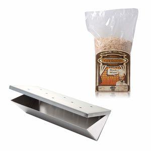 Räucher-Set Edelstahl Räucherbox Smokerbox V-Form inkl. 1 kg Räuchermehl Buche