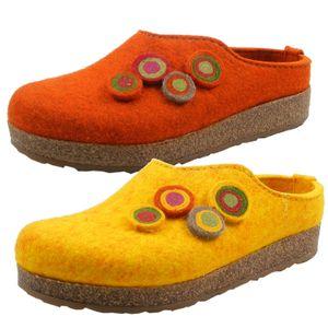 Haflinger Damen Hausschuhe Pantoffeln Grizzly Kanon 731023 , Größe:41 EU, Farbe:Gelb