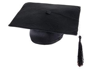 Doktorhut Absolventenhut in schwarz mit Bommel und Quaste