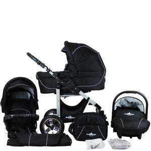Bergsteiger Capri Kinderwagen, Farbe: black edition / Gestell: silber, 3-in-1 Kombikinderwagen, inkl. Babyschale, Babywanne, Sportwagen und Zubehör