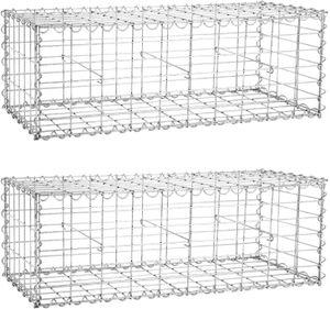 SONGMICS 2 x Gabione 100 x 30 x 30cm für Stützmauern Gartenzaun Gabionenwand Steinmauer Säule verzinkt GGB233 (2 x GGB133)