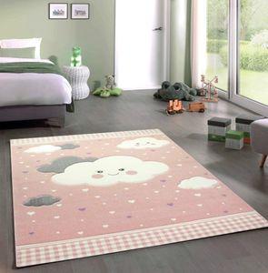 Teppich Kinderzimmer Kinderteppich Wolken rosa Größe - 80x150 cm
