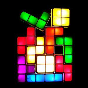 Tetris Licht, LED Nachtlicht, Induktion Interlocking Schreibtischlampe, 3D DIY Magic Blocks Puzzles Spielzeug für Kinder