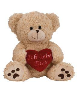 """Teddy Bär Creme Weiß mit Herz """"Ich liebe Dich"""" 25 cm Kuscheltier"""