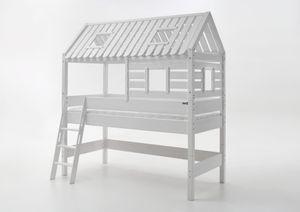 Relita Spielbett Tom´s Hütte und Bett Kim Buche massiv weiß lackiert BH1131117+ZB1371417