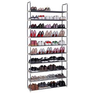 SONGMICS Schuhregal mit 10 Ablagen für bis zu 50 Paar Schuhe 194 x 92 x 30 cm DIY Schuhständer grau LSA10G