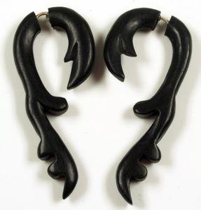 Tribal Holzohrring, Holzspirale, Fake Piercing, Plug - Modell 14, Ohrringe + Ohrstecker Modeschmuck