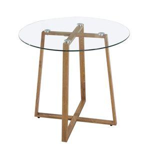 IPOTIUS Rund Esstisch Glastisch Modern Skandinavisch Esszimmertisch Kaffetisch Küchentisch mit Metallbeine Eichenfinish, 80 * 80 * 75 cm, Glas