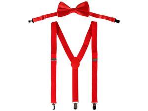Hosenträger Set mit Fliege Unisex 3-Clips Y-Form One-Size, Hosenträger wählen:rot