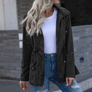 Frauen Hooded Waterproof Zipper Mittellange winddichte wasserdichte Regenmanteljacke Größe:XL,Farbe:Schwarz
