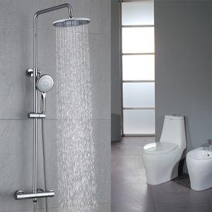 Duschsystem mit Thermostat Regendusche Duschset Brausegarnitur Duscharmatur Thermostat mit Versteckter Wasserauslauf Duschstange