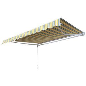 Outsunny Markise Gelenkarmmarkise Sonnenschutz Handkurbel Balkon Alu Gelb+Grau 2,95x2,5m