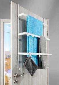 Metall Tür-Aufbewahrung | weiß-matt | ohne Bohren | Handtuchhalter mit 4 Haken / 3 Stangen - Hängeregal | universell passend für alle gängigen Türen