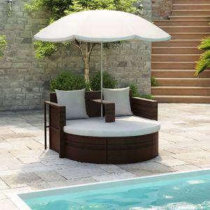 Chunhe Gartenbett Sonneninsel Palettenkissen Rückenkissen Palettensofa Palettenpolster mit Sonnenschirm Braun Poly Rattan