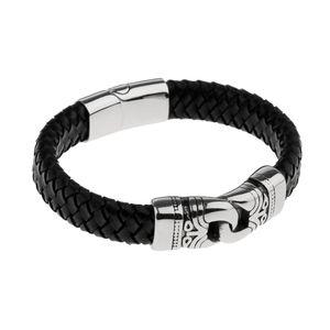1 Stück Armband aus Kunstleder, Edelstahl für Männer, Herren Mode Schmuck Geschenk