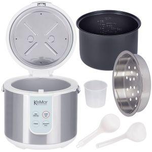 KeMar Kitchenware KRC-130 Digitaler Reiskocher | Dampfgarer mit Warmhaltefunktion | 4 Programme | Innentopf mit Titan-Keramik Antihaftbeschichtung | BPA-frei | Edelstahl Dämpfeinsatz